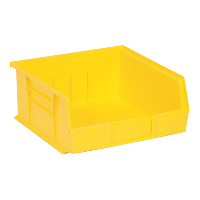 Quantum Storage Heavy Duty Stacking Bins — 10 7/8in. x 11in. x 5in. Size, Yellow, Carton of 6