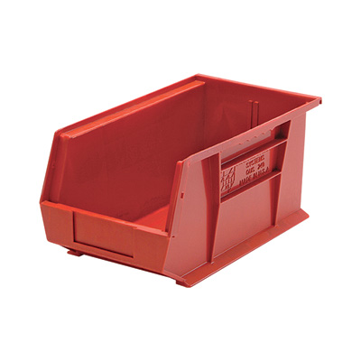 Quantum Storage Heavy Duty Stacking Bins — 14 3/4in. x 8 1/4in. x 7in. Size, Red, Carton of 12
