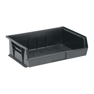 Quantum Storage Heavy Duty Stacking Bins — 10 7/8in. x 16 1/2in. x 5in. Size, Black, Carton of 6
