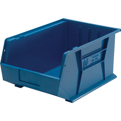 Quantum Storage Heavy Duty Stacking Bins — 16in. x 11in. x 8in. Size, Blue, Carton of 4
