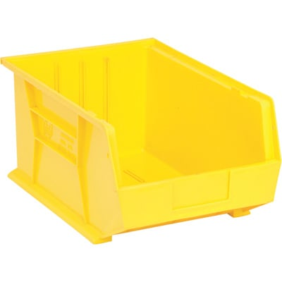 Quantum Storage Heavy Duty Stacking Bins — 16in. x 11in. x 8in. Size, Yellow, Carton of 4