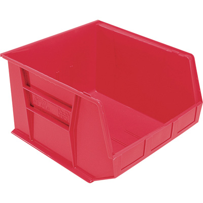 Quantum Storage Heavy Duty Stacking Bins — 18in. x 16 1/2in. x 11in. Size, Red, Carton of 3