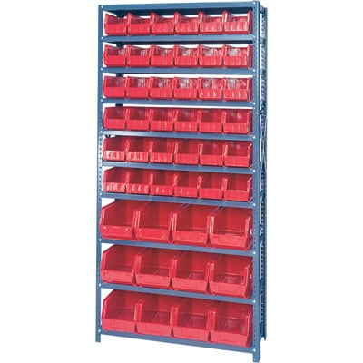 Quantum Storage Complete Shelving System with Large Parts Bins   — 12in. x 36in. x 75in. Rack Size, 48 Bins