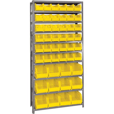 Quantum Storage Single Side Metal Shelving Unit with 48 Assorted Bins — 12in. x 36in. x 75in. Rack Size, Yellow, Model# QSBU-230240 Y