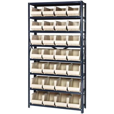 Quantum Storage Single Side Metal Shelving Unit with 28 Bins — 12in. x 36in. x 75in. Rack Size, Ivory, Model# QSBU-240 I