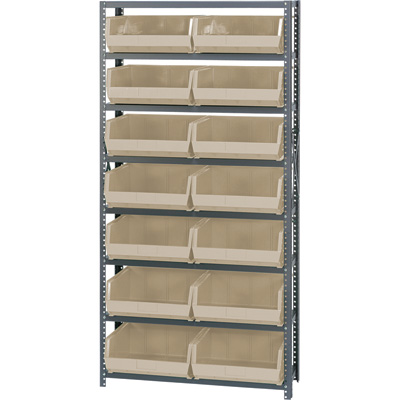 Quantum Storage Single Side Metal Shelving Unit with 14 Bins — 12in. x 36in. x 75in. Rack Size, Ivory, Model# QSBU-250 I