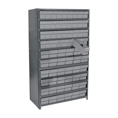 Quantum Storage Closed Metal Shelving Unit With 72 Super Tuff Drawers — 12in. x 36in. x 75in. Rack Size, Gray, Model# CL1275-601 G
