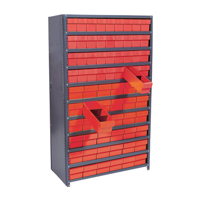 Quantum Storage Closed Metal Shelving Unit With 72 Super Tuff Drawers — 12in. x 36in. x 75in. Rack Size, Red, Model# CL1275-601 R