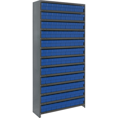 Quantum Storage Closed Metal Shelving Unit With 108 Super Tuff Drawers — 12in. x 36in. x 75in. Rack Size, Blue, Model# CL1275-501 B