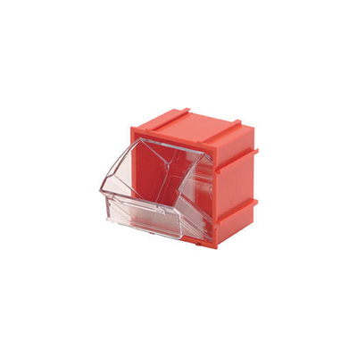 Quantum Storage Clear Tip Out Storage Bin — 2in. x 2 1/2in. x 2 3/4in. Size, Red