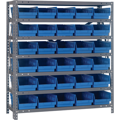 Quantum Storage Steel Shelving System with 30 Bins —  36in.W x 12in.D x 39in.H Rack Size, Blue, Model# 1239-102BL