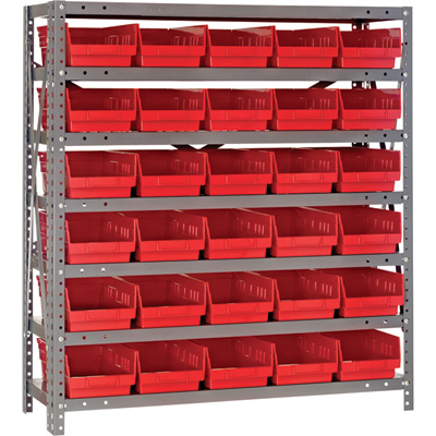 Quantum Storage Single Sided Steel Shelving Unit with 30 Bins —  36in.W x 12in.D x 39in.H Rack Size, Red, Model# 1239-102R