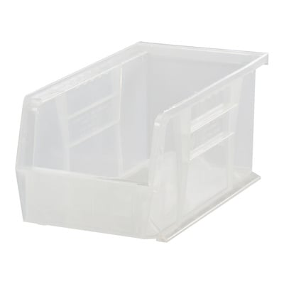 Quantum Storage Stack and Hang Bin — 14 3/4in. x 5 1/2in. x 5in., Clear, Carton of 12, Model# QUS234CL