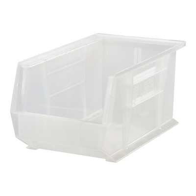 """Quantum Storage Stack and Hang Bin - 13 5/8in. x 8 1/4in. x 8in., Clear, Carton of 12, Model# QUS242CL"""