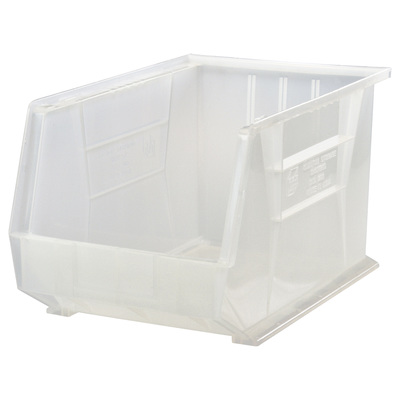 Quantum Storage Stack and Hang Bin — 18in. x 8 1/4in. x 9in., Clear, Carton of 6, Model# QUS265CL