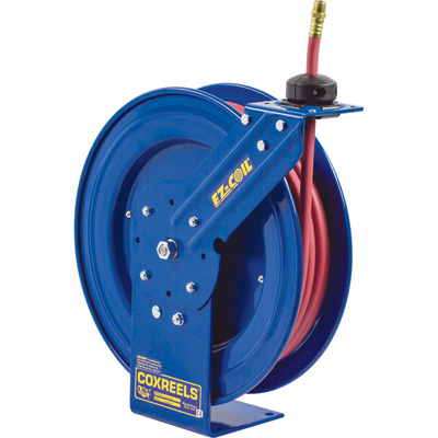Coxreels EZ-Coil Equipped P-Series Compact Hose Reel — With 1/2in. x 50ft. PVC Hose, Max. 300 PSI, Model# EZ-P-LP-450