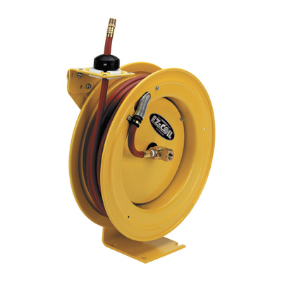FREE SHIPPING - Coxreels EZ-Coil Equipped P-Series Safety Yellow Compact Hose Reel with 3/8in. x 50ft. Hose, Model# EZ-P-LP-350-YXX