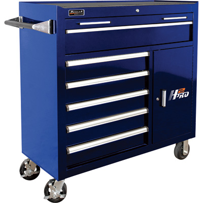 Homak H2PRO 41in. 6-Drawer Roller Tool Cabinet with 2 Compartment Drawers — 41 15/16in.W x 22 7/8in.D x 42 1/4in.H