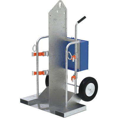 Vestil Welding Cylinder Cart with Fork Pockets — 500-Lb. Capacity, Pneumatic Wheels, Galvanized Finish, Model# CYL-2-G