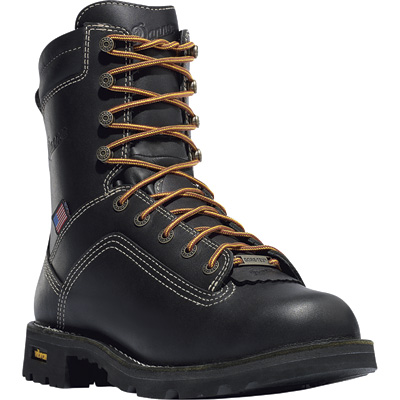 FREE SHIPPING — Danner Quarry 8in. Gore-Tex Waterproof Work Boots - Black, EH, Size 7 1/2, Model# 173097D