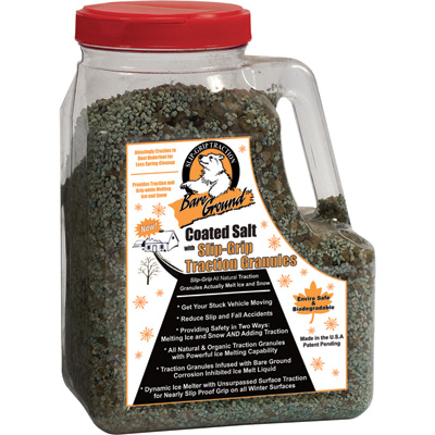"""Bare Ground Coated Salt with Slip-Grip Traction Granules - Four 12-Lb. Shaker Jugs, Model# CCSLGP-12"""