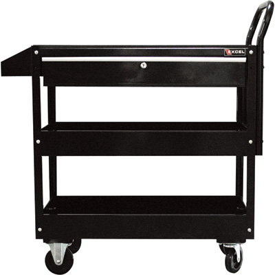 Excel Rolling Tool Cart with Locking Drawer — 300-Lb. Capacity, Model# TC301C-BLACK