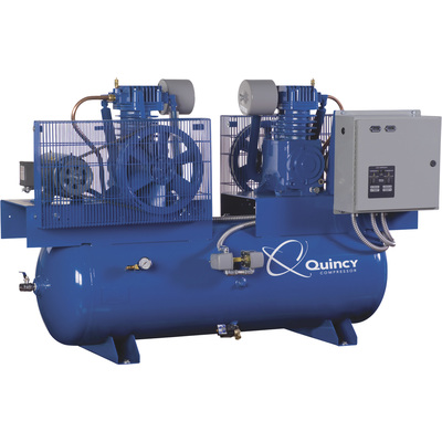 FREE SHIPPING — Quincy Duplex Air Compressor — 7.5 HP, 230 Volt, 1 Phase, 120 Gallon Horizontal, Model# 271CC12DC