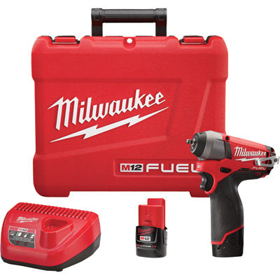 FREE SHIPPING — Milwaukee M12 FUEL Cordless Impact Wrench Kit with Friction Ring — 1/4in. Drive, 41.66 Ft.-Lbs. Torque, 2 Batteries, Model# 2452-22