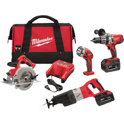 FREE SHIPPING — Milwaukee M28 Li-Ion Cordless Power Tool Set — 4-Tool Set, With 2 Batteries, Model# 0928-29