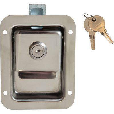 Buyers Junior Size Stainless Steel Flush Paddle Latch — Fits 2 3/4in. x 3 3/4in. Recess, Model# L1883