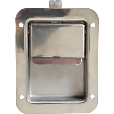 Buyers Stainless Steel (Non-Locking) Flush Paddle Latch — Fits 3 3/8in. x 4 5/8in. Recess