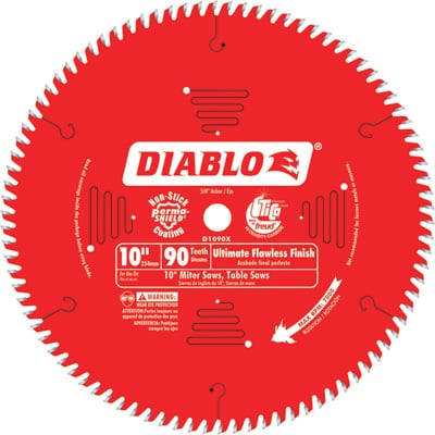 FREE SHIPPING — Diablo Ultra Fine Circular Saw Blade — 10in., 90 Tooth, For Wood and Wood Composites, Model# D1090X