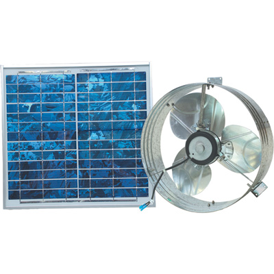 Ventamatic Solar-Powered Ventilating Fan with Panel — Gable-Mounted Ventilator, 1000 CFM, Model# VX2515SOLARGABL