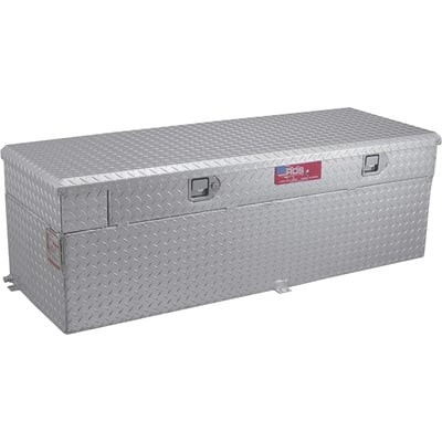 RDS Aluminum Auxiliary Fuel Tank Toolbox Combo — 51-Gallon Capacity, Rectangular, Diamond Plate, Model# 72746
