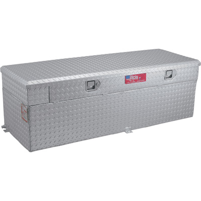 RDS Aluminum Auxiliary Fuel Tank Toolbox Combo — 91-Gallon, Rectangular, Diamond Plate, Model# 72748