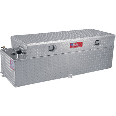 RDS Aluminum Auxiliary Fuel Tank Toolbox Combo — 51 Gallon, Rectangular, Diamond Plate, Model# 72559