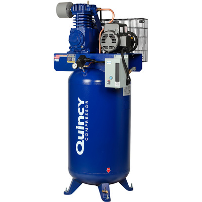 FREE SHIPPING — Quincy QT-5 Splash Lubricated Reciprocating Air Compressor with MAX Package  — 5 HP, 230 Volt, 1 Phase, 80 Gallon Vertical, Model# 251C80VCBM