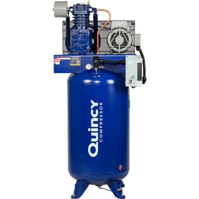 """FREE SHIPPING - Quincy QT-7.5 Splash Lubricated Reciprocating Air Compressor - 7.5 HP, 230 Volt, 1 Phase, 80-Gallon Vertical, Model# 271CS80VCB"""