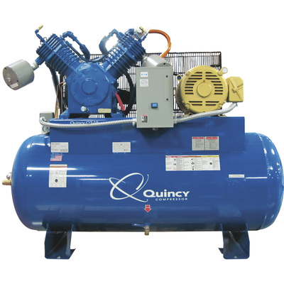 Quincy QT-15 Splash Lubricated Reciprocating Air Compressor — 15 HP, 200–208/230/460 Volt, 3 Phase, 52.5 CFM @ 175 PSI, 120-Gallon Horizontal, Model# 2153DS12HCA