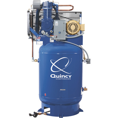 Quincy QT-10 Splash Lubricated Reciprocating Air Compressor  — 10 HP, 230 Volt, 3 Phase, 120 Gallon Vertical, Model# P2103DS12VCB23