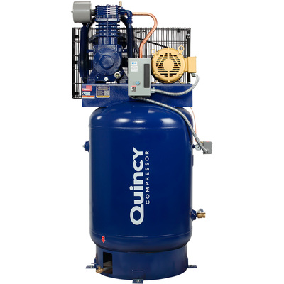 FREE SHIPPING — Quincy QT-10 Splash Lubricated Reciprocating Air Compressor with MAX Package — 10 HP, 460 Volt, 3 Phase, 120 Gallon Vertical, Model# P2103DS12VCB46M