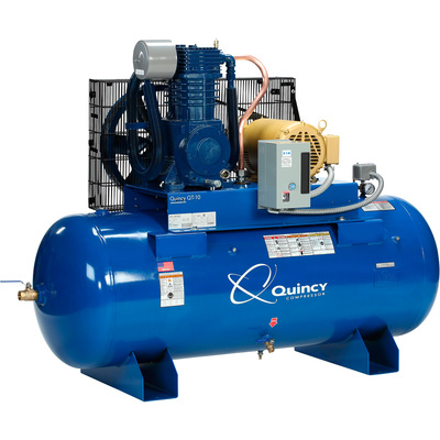 FREE SHIPPING — Quincy QT-10 Splash Lubricated Reciprocating Air Compressor — 10 HP, 208/230/460 Volt, 3 Phase, 120-Gallon Horizontal, Model# P2103DS12HCB