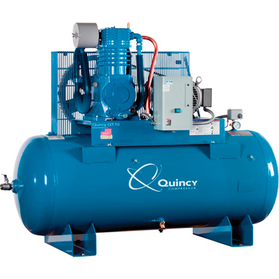 Quincy QT-10 Splash Lubricated Reciprocating  Air Compressor with MAX Package — 10 HP, 460 Volt, 3 Phase, 120 Gallon Horizontal, Model# P2103DS12HCB46M