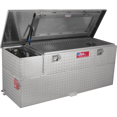 RDS Aluminum Transfer Fuel Tank Toolbox Combo with GPI 12V Fuel Transfer Pump — 60-Gallon, Rectangular, Diamond Plate, 8 GPM, Model# 73326