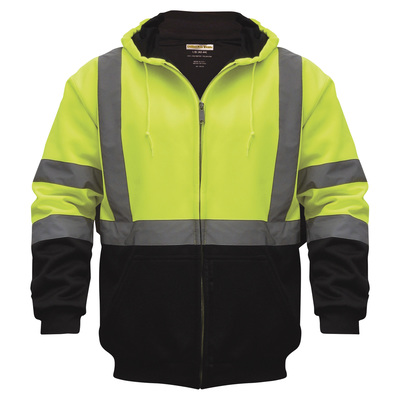 Utility Pro Men's Class 3 High Visibility Hooded Zip-Up Sweatshirt with Teflon Fabric Protector — Lime/Black, Large, Model# UHV425