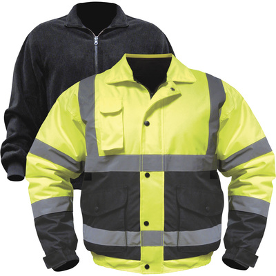 Utility Pro Men's Class 3 High Visibility 3-in-1 Bomber Jacket with Teflon Fabric Protector — Lime/Black, 5XL, Model# UHV563