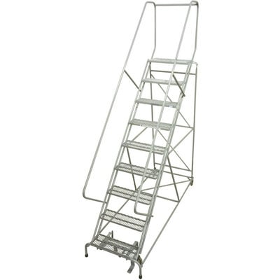 """Cotterman Rolling Steel Ladder - 450-Lb. Capacity, 9-Step Ladder, 24in.L x 10in.W x 90in.H Platform, Model# D046009505"""