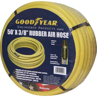 """Goodyear Rubber Air Hose - 3/8in. x 50ft., 300 PSI, Model# 46545"""