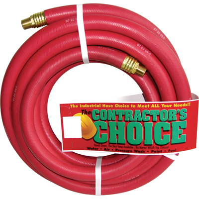 """Industrial Red Rubber Hose - 3/4in. x 25ft., 1/2in. NPT Fittings, 300 PSI, Model# RR3/4X25-300-8MP"""