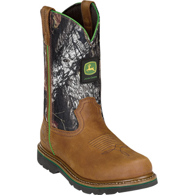 John Deere Men's 11in. Camo Wellington Pull-On Work Boot - Tan & Mossy Oak Camo, Size 8 1/2, Model# JD4148